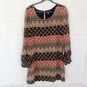 [Tinley Road] sheath long sleeved print dress Lg